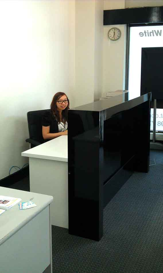 Clean Desk Policy Black Office Counter, Gloss Black Reception Desk