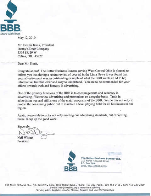 Denny\u0027s Door Company in Celina Ohio! - Better Business Bureau Letter