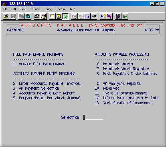 SI Systems, Inc - Accounts Payable Module