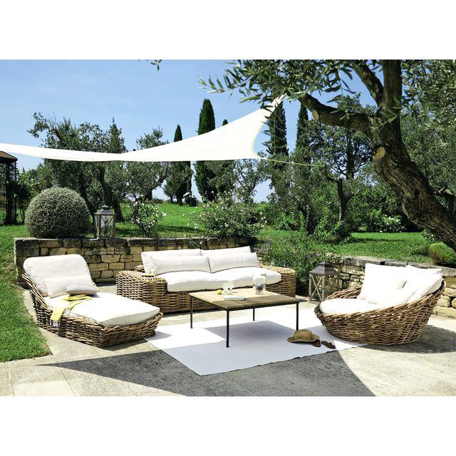 Salon De Jardin En Osier Naturel | Mobilier Jardin Rotin ...