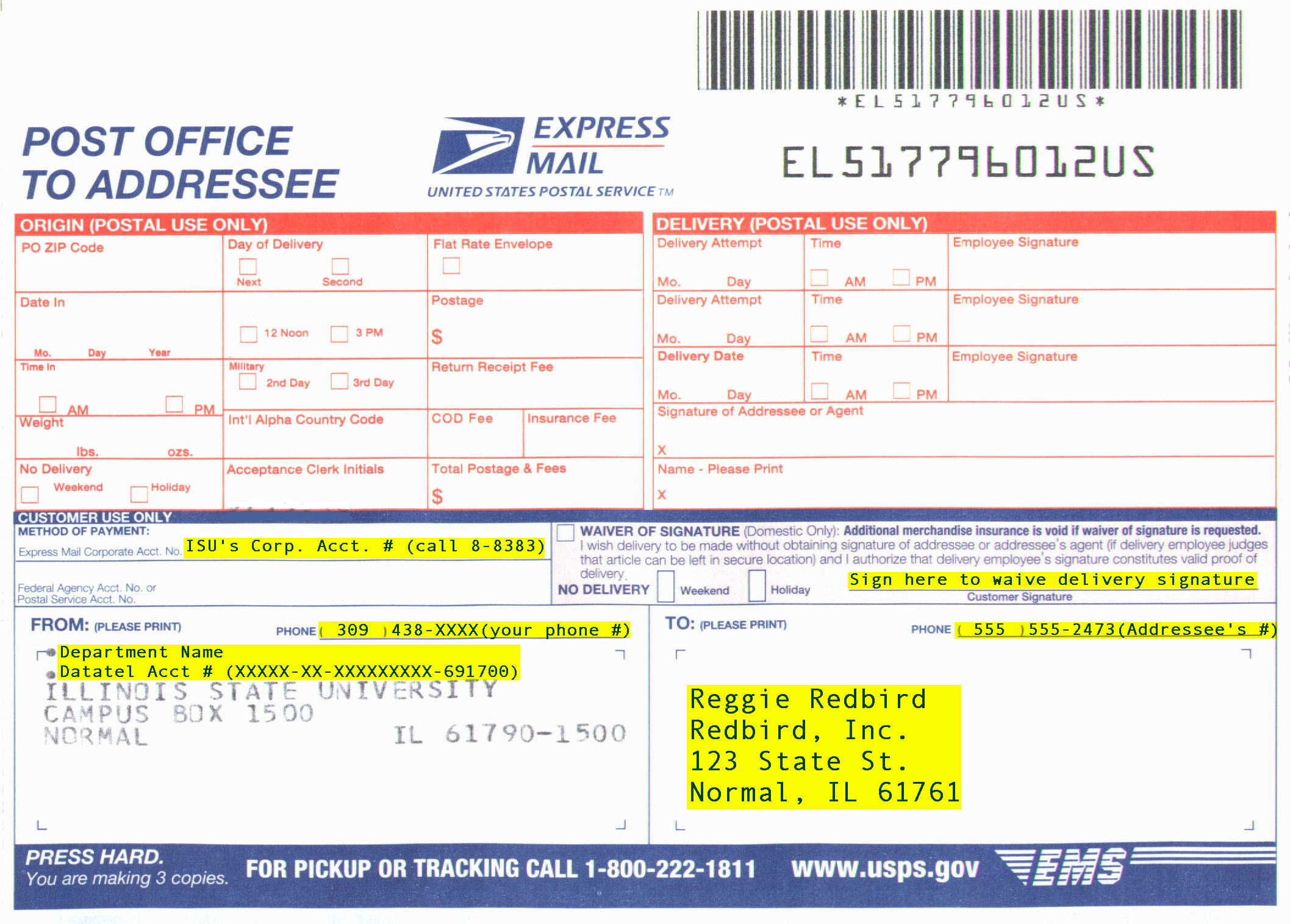 Usps Express Mail Instructions