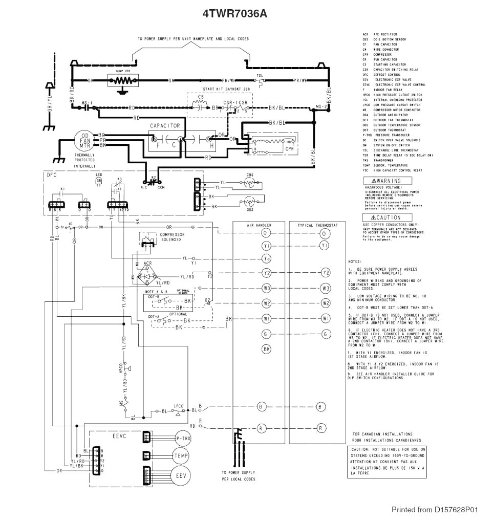 trane xl1400 wiring diagram