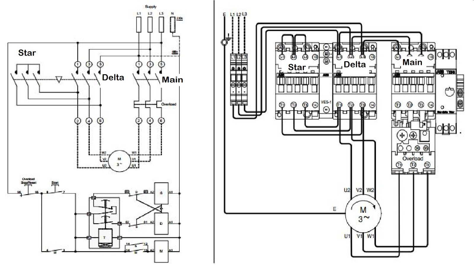 3 phase motor starter connection diagram