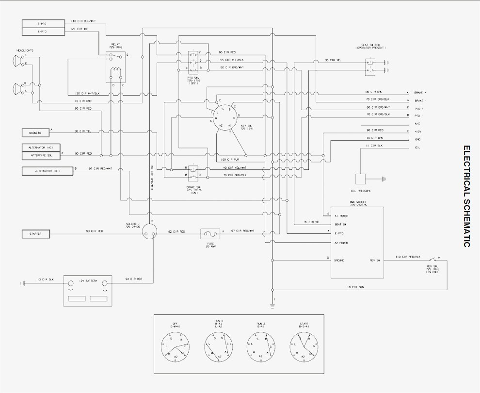 schematic diagram cub cadet lt1050
