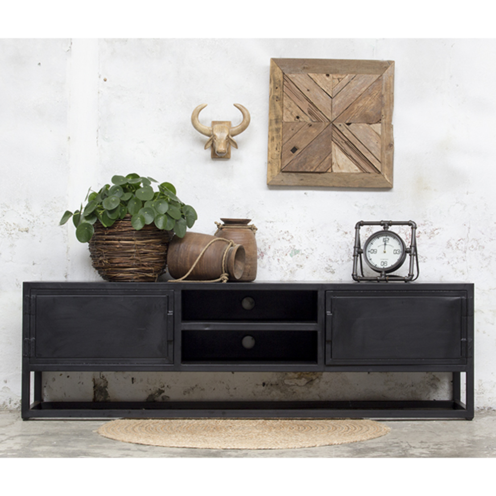 Industriedesign Tv Möbel Urban Xl 200 Cm Sideboard Board - Tv Möbel Schwarz