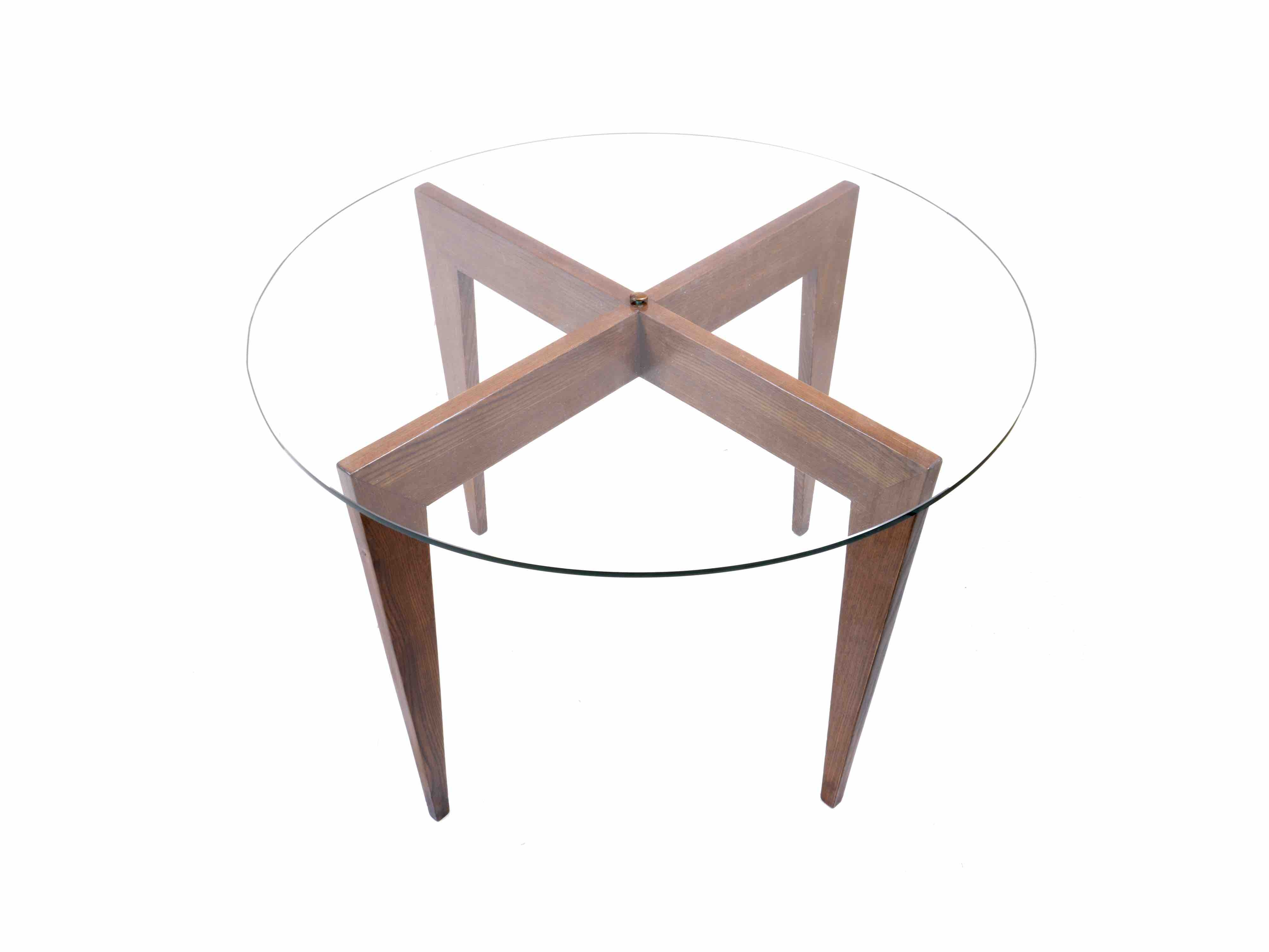 Table Metal Et Verre Gio Ponti Pedestal Table In Walnut And Glass Maison Rapin