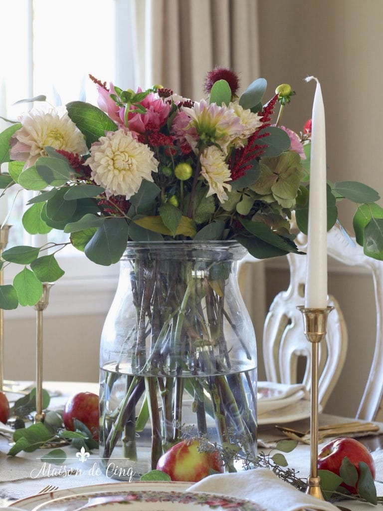Charming Fall Table Setting With Apples Eucalyptus