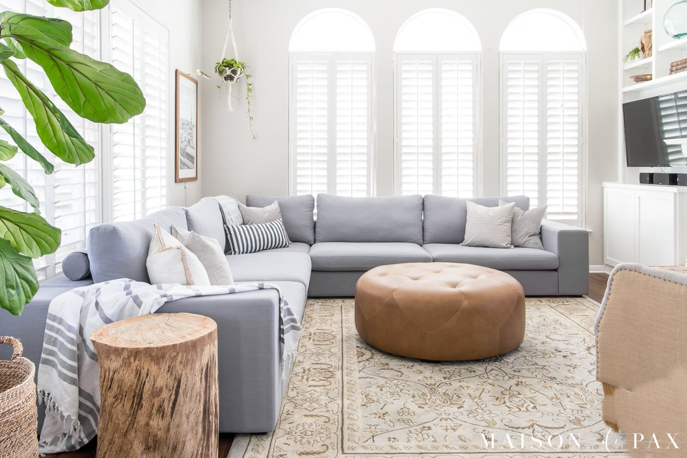 Grey White And Blue Living Room Designing A Small Living Room With A Large Sectional Maison De Pax