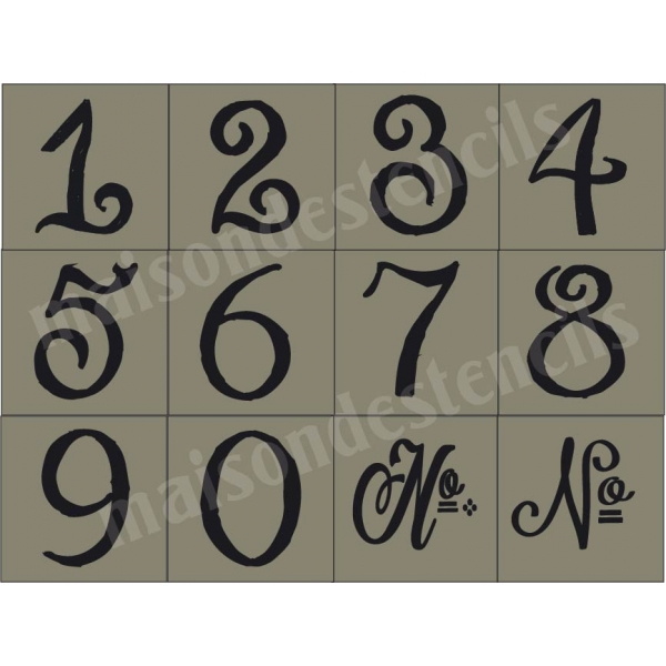 Chalk Hand Lettering Numbers 12 small stencils - pretty lettering stencils