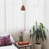 CERAMIC AND WOOD TERRACOTTA PENDANT LAMP | Maison Numen