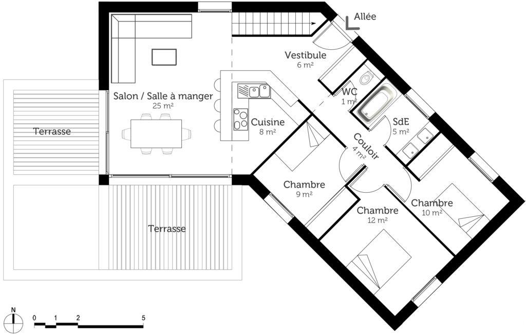 plan de maison de 100m