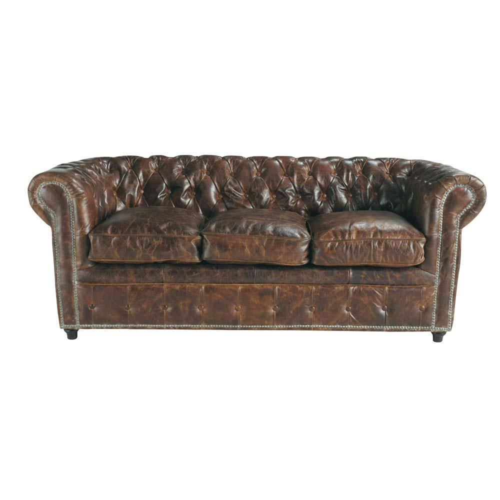 Lit Simple Maison Du Monde Canapé Vintage 3 Places En Cuir Capitonné Chesterfield Maisons Du