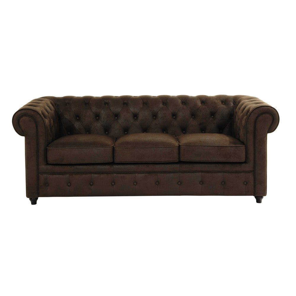 3 Seater Imitation Suede Button Sofa In Brown Chesterfield - Canape Floride Maison Du Monde