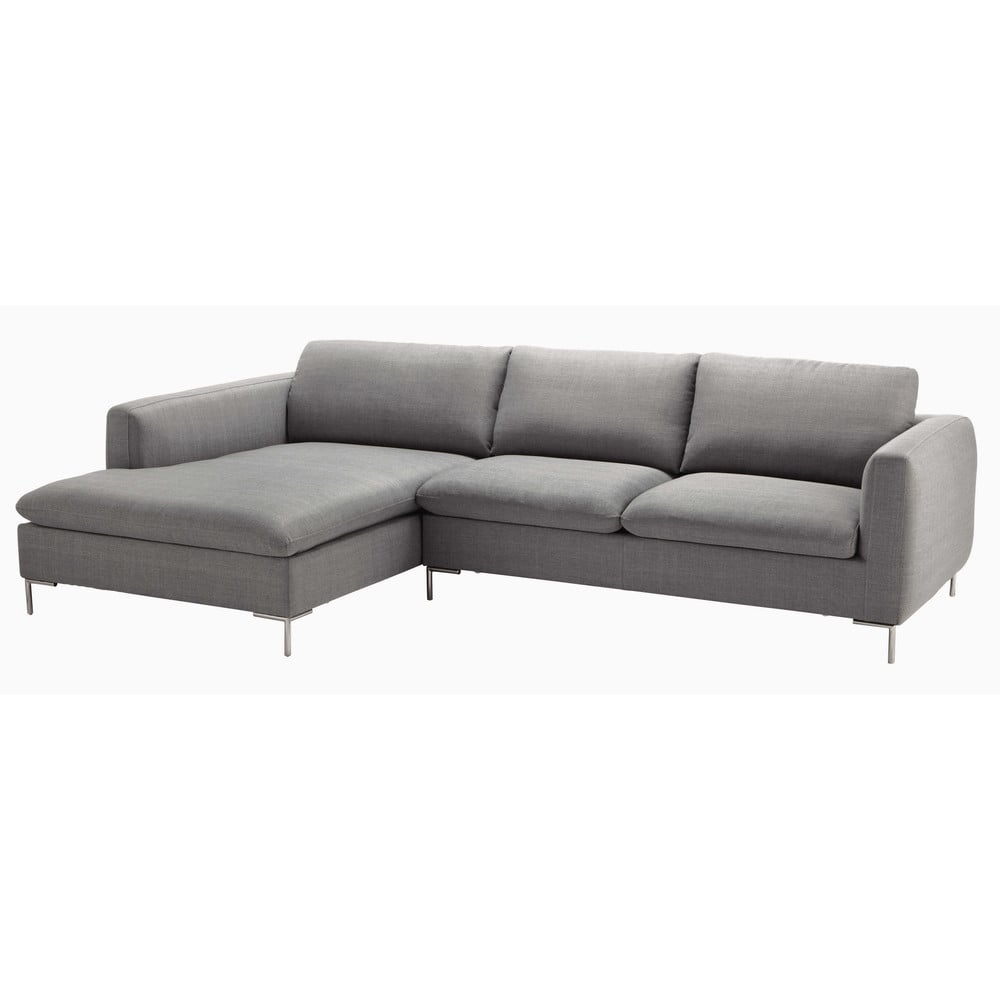 5 Seater Fabric Corner Sofa In Light Grey City Maisons - Canapé Angle Maison Du Monde
