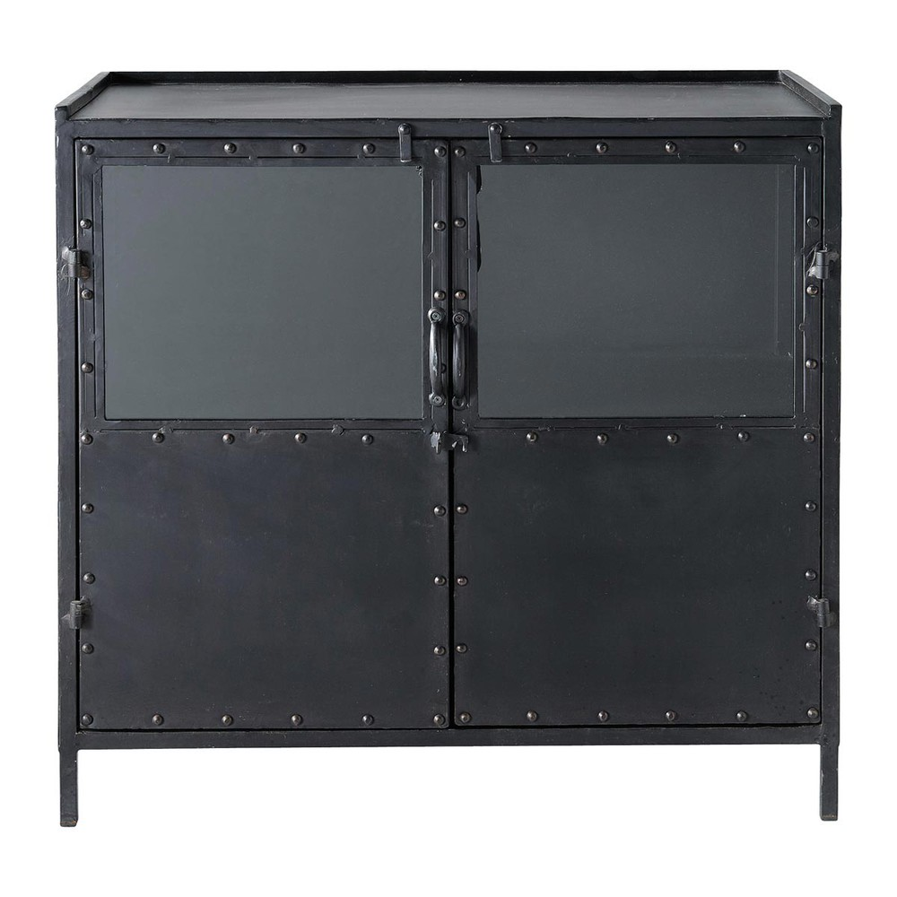 Metal Industrial Glazed Sideboard In Black W 87cm Edison - Sideboard Industrial Metall
