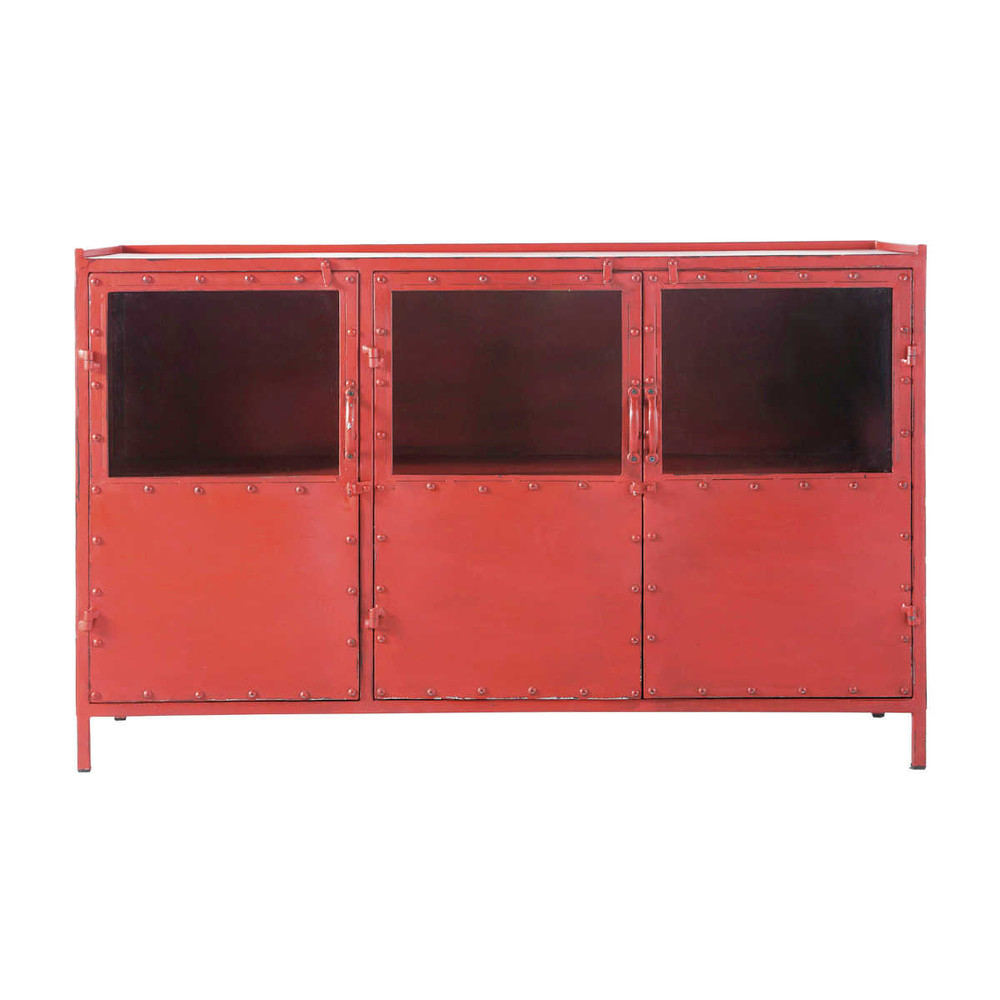 Metal Industrial Glazed Sideboard In Red W 130cm Edison - Sideboard Industrial Metall