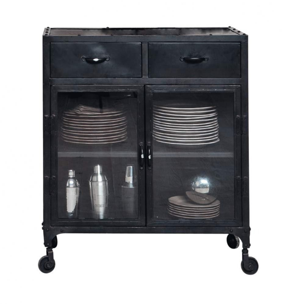 Metal Industrial Glazed Sideboard On Castors In Black W - Sideboard Industrial Metall