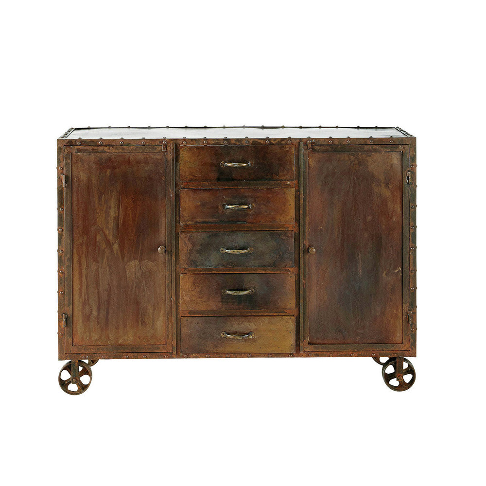 Rust Effect Metal Industrial Sideboard On Castors W 130cm - Sideboard Industrial Metall