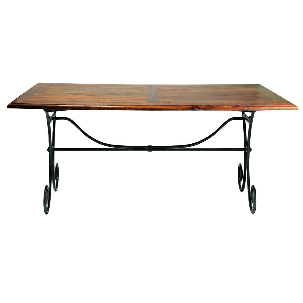 Maison Du Monde Esstisch Solid Sheesham Wood And Wrought Iron Dining Table W 180cm ...