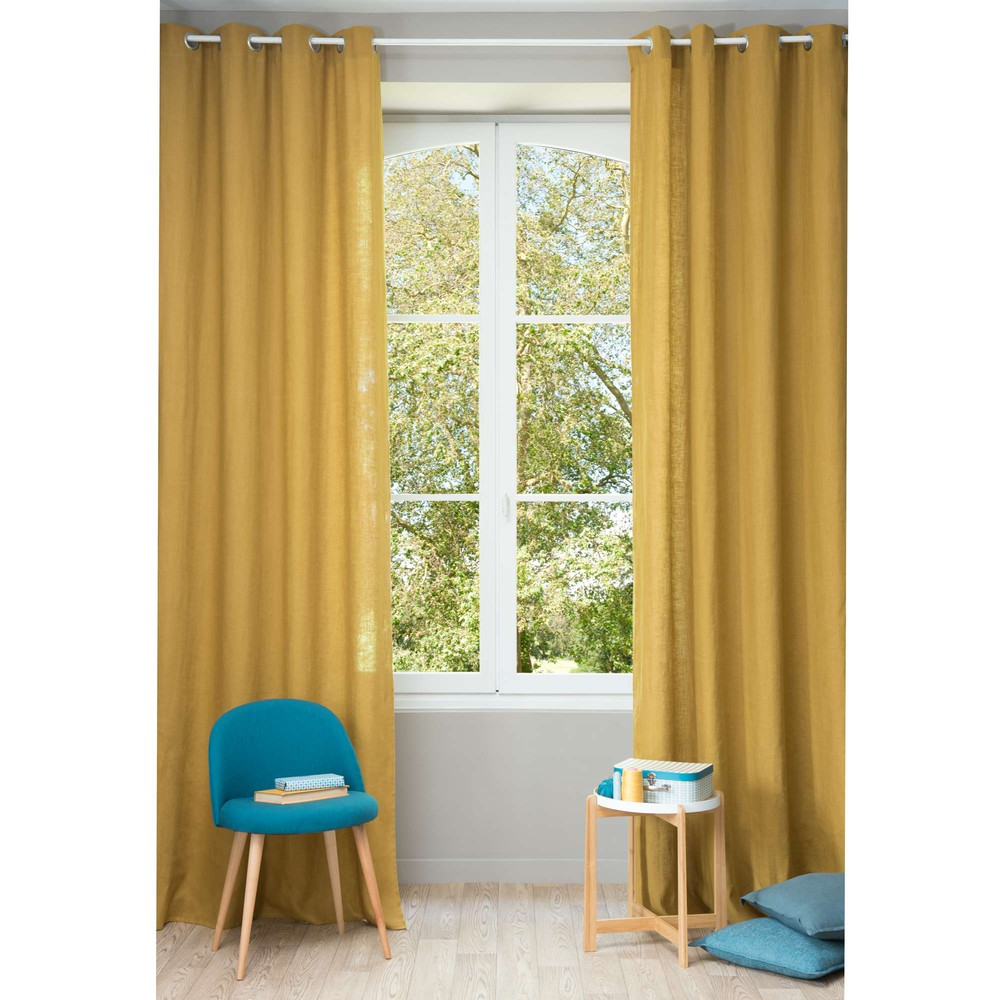 Gordijn Linnen 300 Washed Linen Eyelet Curtain In Mustard Yellow 130 X 300cm