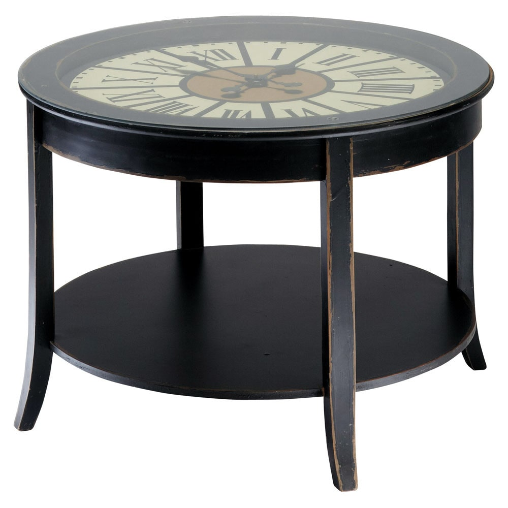 Maisons Du Monde Couchtisch Wooden Clock Coffee Table In Black W 72cm Teatime