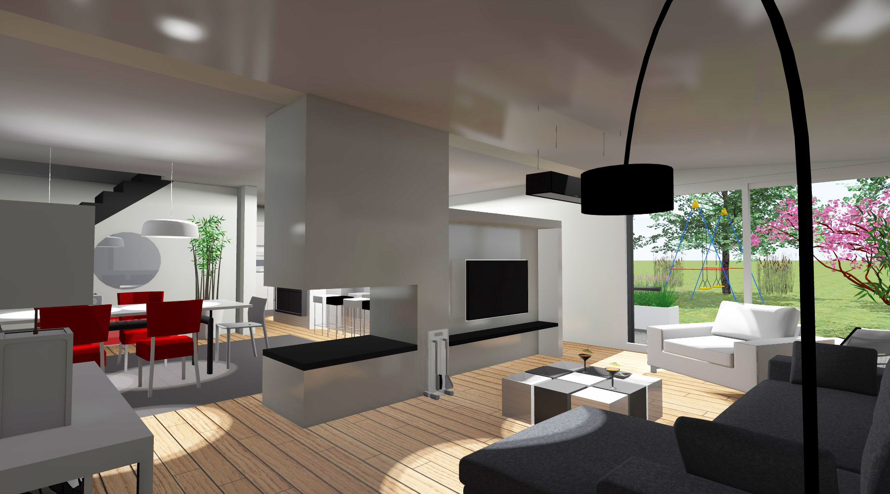 Architecture D\'intérieur Salon Moderne   Salon Moderne Gris Et Bois ...