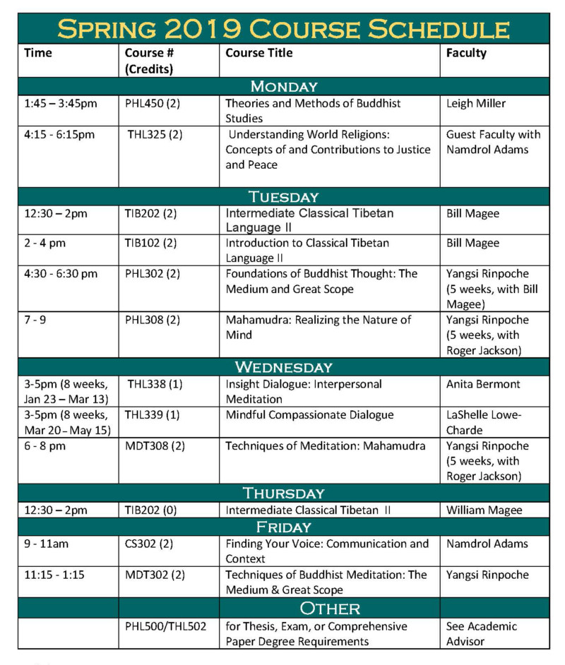 Spring 2019 Course Schedule  Registration - Maitripa College