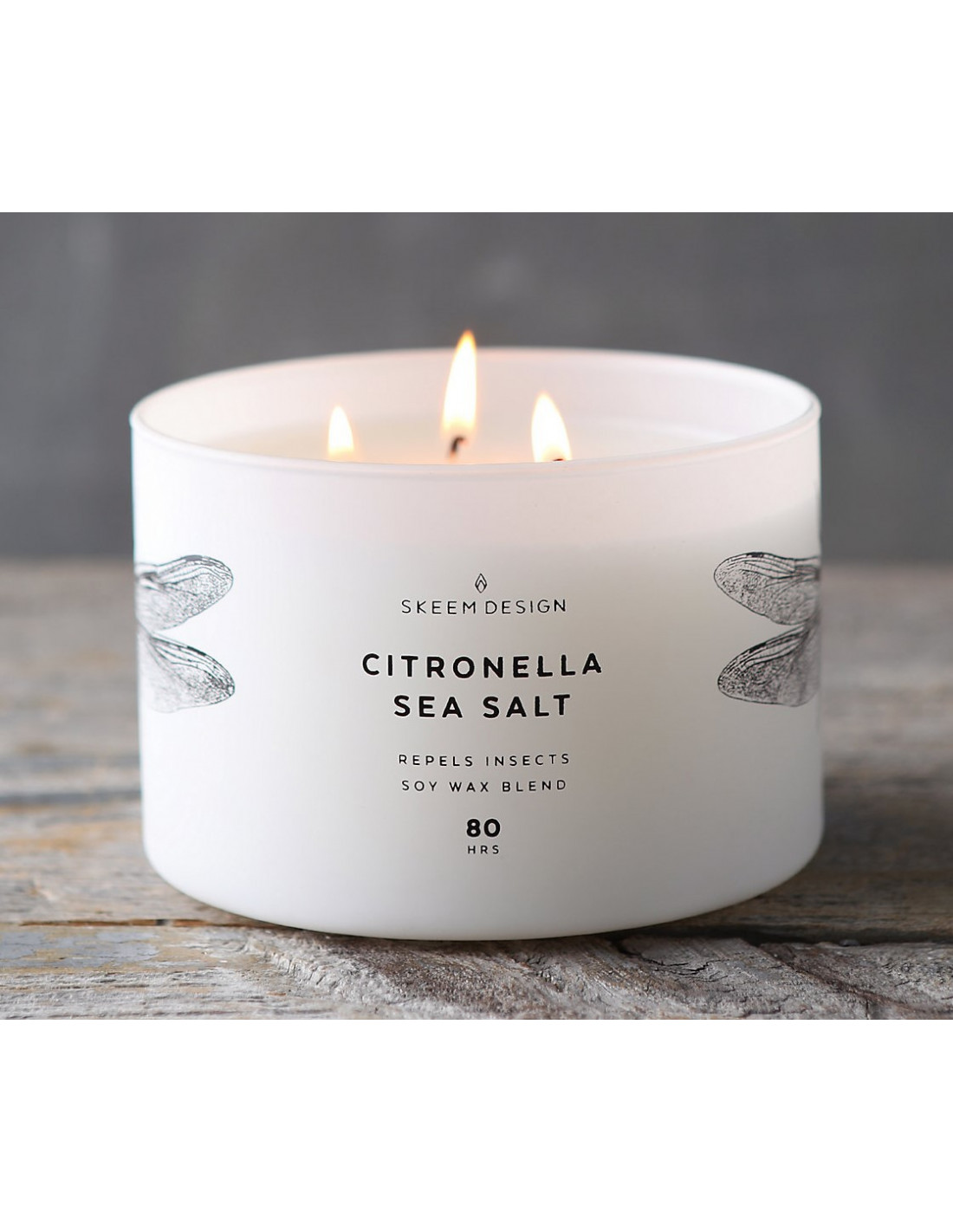 Bougie Citronnelle Exterieur Skeem Candles Bougie 3 Mèches Citronella Sea Salt