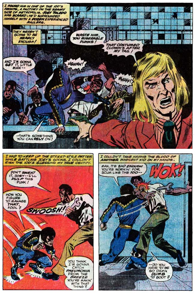 "[Isabella, Tony (w), Von Eeden, Trevor (p), and Springer, Frank (i).]  ""Black Lightning!"" Black Lightning #1 (April 1977), p.2, DC Comics Inc."