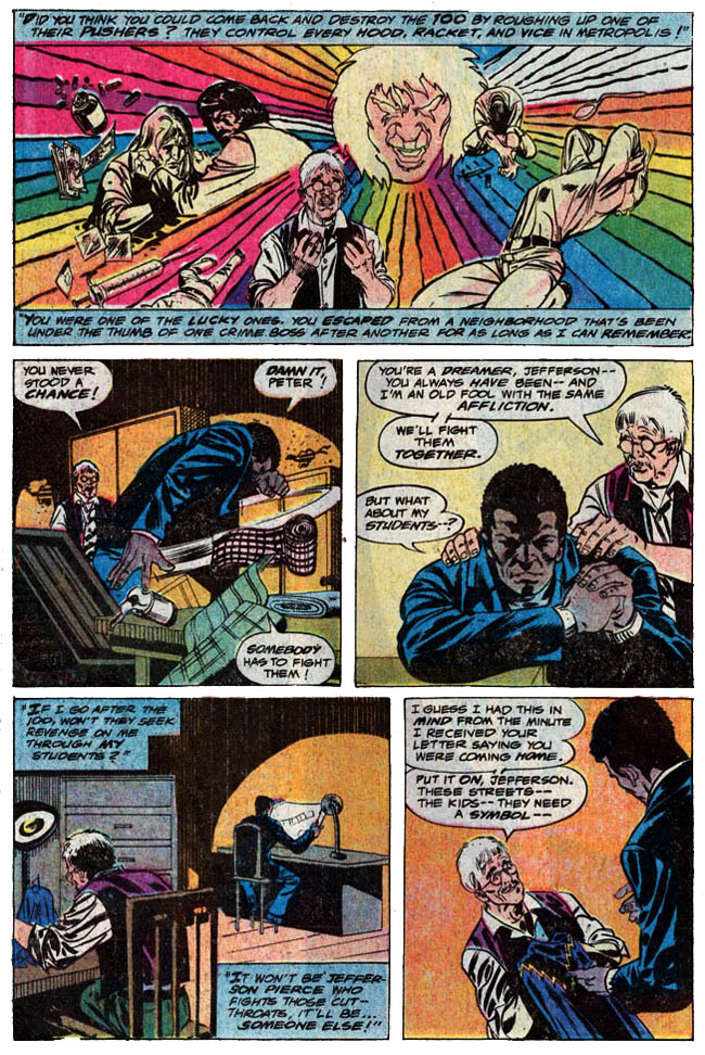"[Isabella, Tony (w), Von Eeden, Trevor (p), and Springer, Frank (i).]  ""Black Lightning!"" Black Lightning #1 (April 1977), p.14, DC Comics Inc."