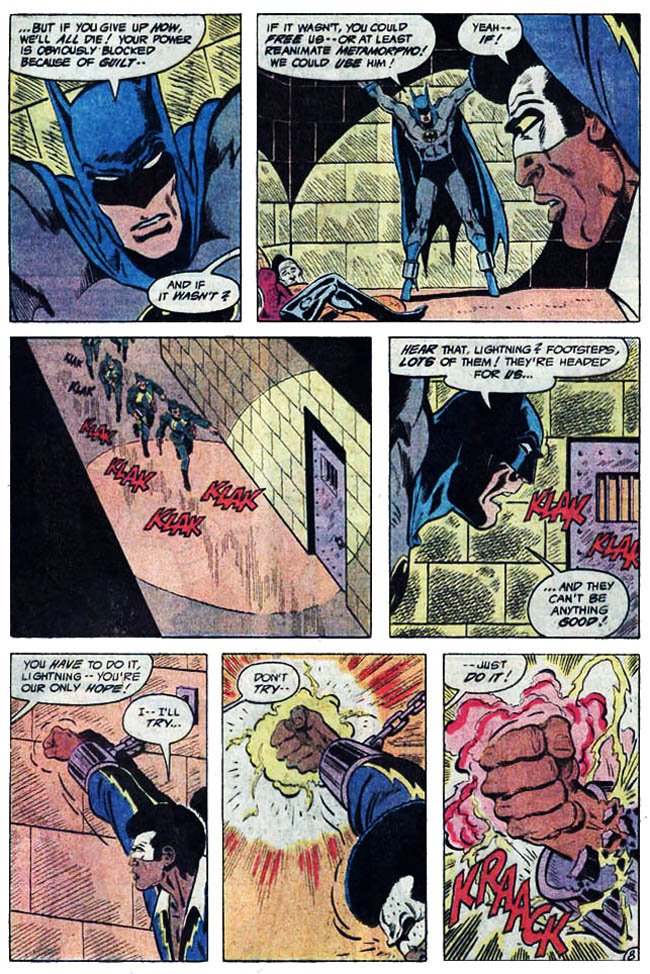 "[Barr, MIke W. & Aparo, Jim (w), Aparo, Jim (p&i).] ""Markovia's Last Stand!"" Batman & The Outsiders Vol. 1 #2 (September 1983), p.8, DC Comics Inc."