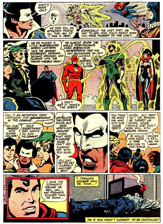 "[Conway, Gerry (w), Dillin, Dick(p), and McLaughlin, Frank (i).]  ""Testing Of A Hero!"" Justice League Of America #173 (December 1979), p.17, DC Comics Inc."