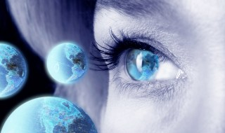 Woman's Eye and World Globes