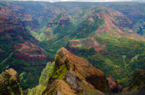 Looking down eastward on Waimea Canyon
