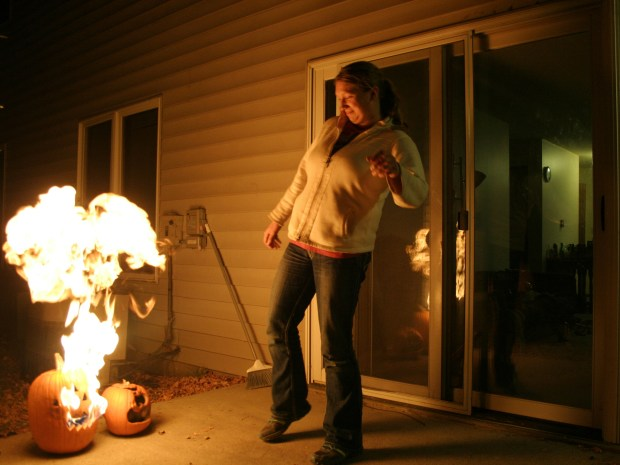 Laser-Triggered Fire-Breathing Pumpkin Prank