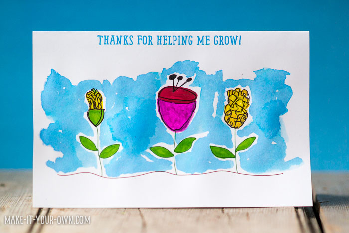School Wrap-Up Flower Thank you Card - make your own thank you cards