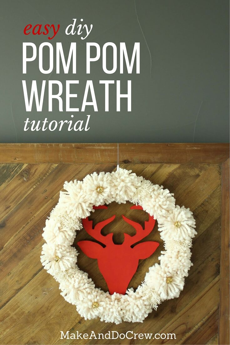 Super Easy Diy Christmas Wreath Tutorial With Pom Poms