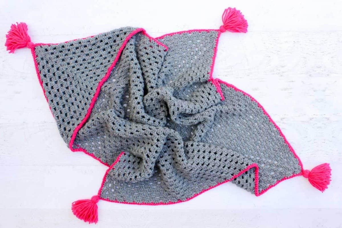 Modern Crochet Hooded Baby Blanket Free Pattern For Charity
