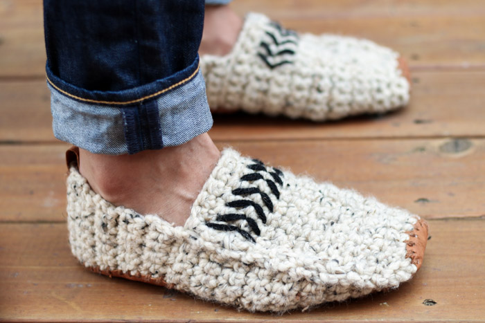 Comfortable Modern Men39s Crochet Slippers With Leather Soles Free