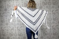 Newsprint Crochet Granny Stitch Shawl