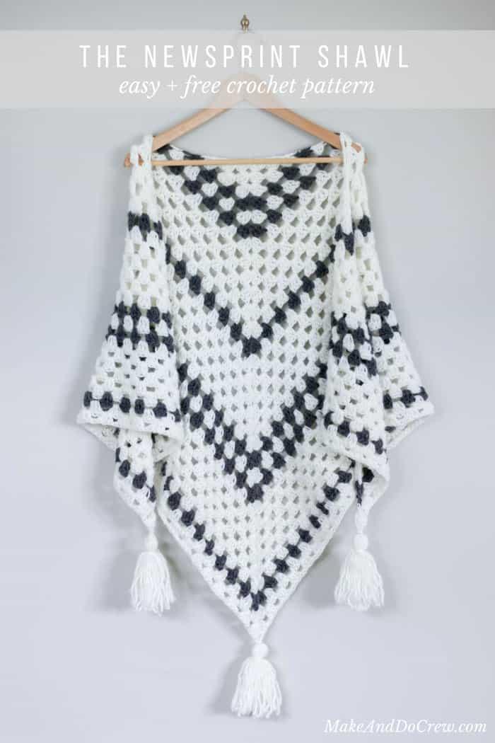 Newsprint Crochet Granny Stitch Shawl