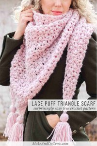 Easy Puff & Lace Crochet Triangle Scarf (or Shawl!) - free ...