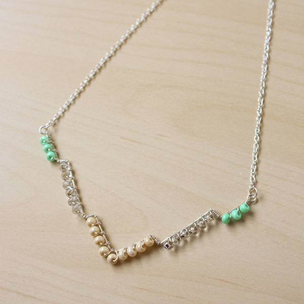 Bead and Wire Geometric Necklace