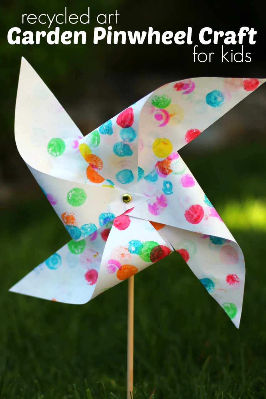 Art And Craft For Preschool Garden Pinwheel Craft For Kids From Recycled Artwork Make And Takes