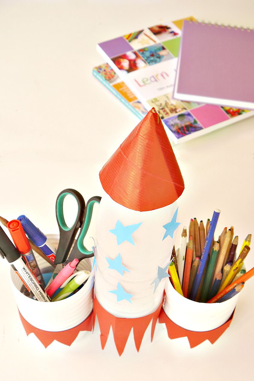 Homemade Pencil Holders Pencil Holder Rocket Make And Takes