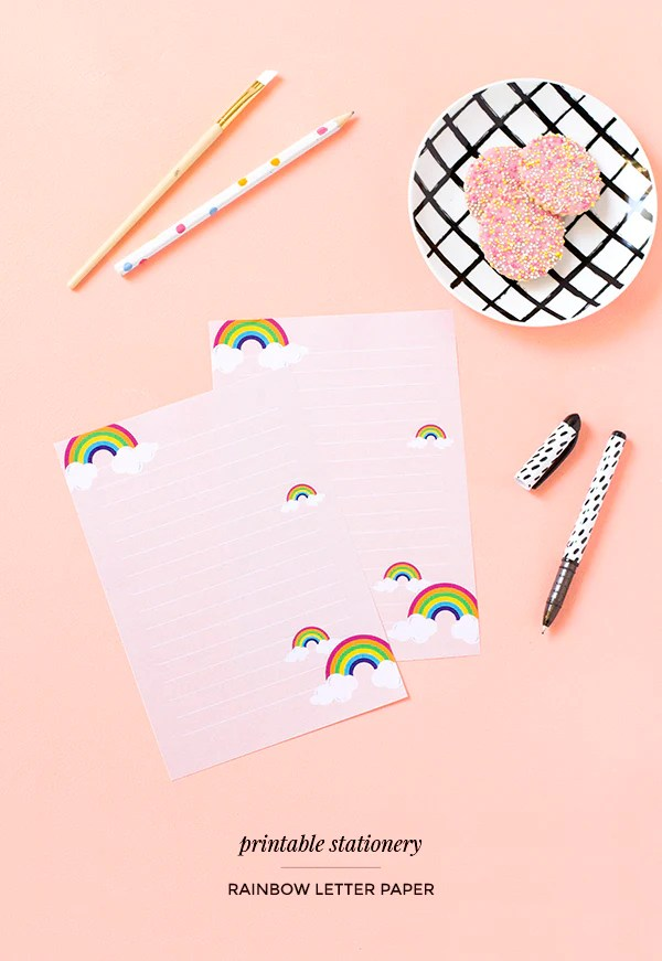 Printable rainbow letter paper \u2013 Make and Tell - printable letter paper with lines