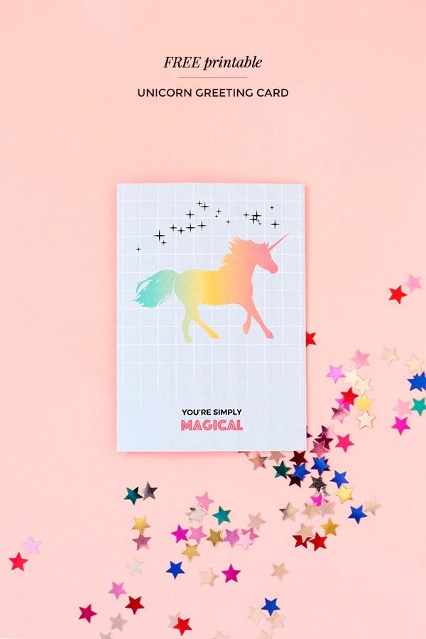 Printable unicorn greeting card \u2013 Make and Tell