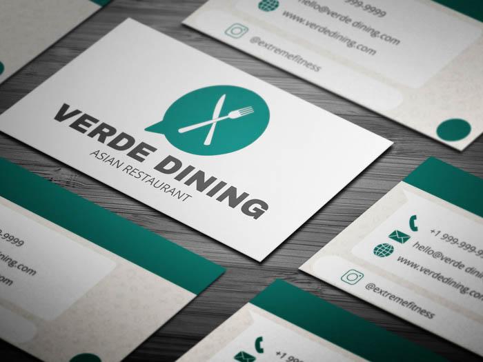 Free Whatsapp Themed Restaurant Business Card Template