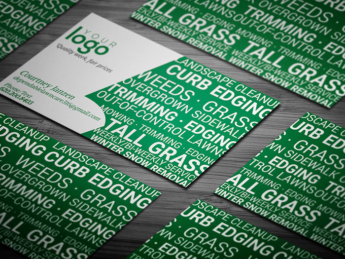 Lawn Care Service Business Card Template - lawn care business cards