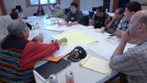 Some homeowners brought their own drawings and designs to share with Brian Abramson of Method Homes and Joseph Kunkel of Sustainable Native Communities.